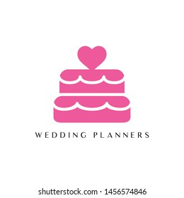 Pink wedding planner logo. This logo icon incorporate with cake and love in the creative way. It will be suitable for wedding and birthday related.