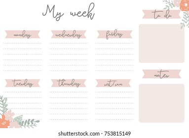 Pink weekly planner with flowers hand drawn, notes, stationery organizer for daily plans, floral vector weekly planner template, schedules