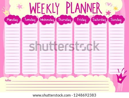 Pink Weekly Planner Girl Kids Schedule Stock Vector Royalty Free