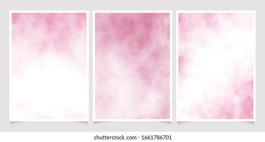pink wet paper watercolor background for wedding invitation or birthday card template layout 5x7 collection