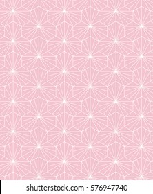 Pink & White abstract geometric seamless vector background. Inspired by traditional Japanese textiles. Use for interior, clothes & pillow decoration, craft. Eps10 contains the pattern swatch