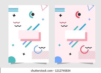 Pink and White Background Memphis pattern style for book cover, wrapped paper, wallpaper etc