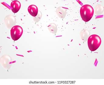 Pink White balloons, confetti concept design sale template Happy Valentines Day, greeting background. Celebration Vector illustration.
