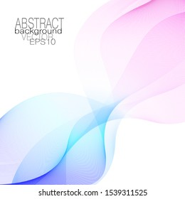 Pink, white, blue line art design element. Abstract background with subtle squiggly curves. Glowing wave pattern. Decorative shape, bright colored gradient. Vector wavy lines. EPS10 illustration
