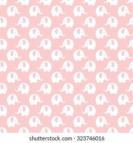 pink with white elephants pattern, seamless texture background