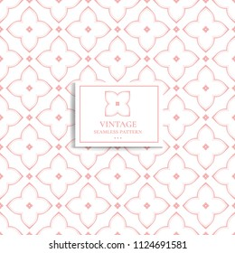 Pink and white geometric seamless pattern. Minimal. Ornament, Traditional, Ethnic, Arabic, Turkish, Indian motifs. Great for fabric and textile, wallpaper, packaging or any desired idea.