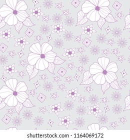 pink white gray seamless background pattern floral hibiscus flower