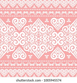 Pink And White Ornamental Seamless Pattern Vintage Paisley Elements Ornament Traditional