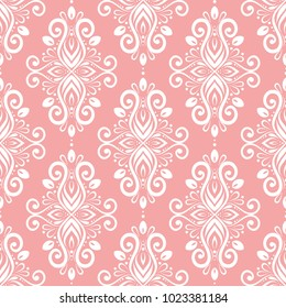 Pink and white ornamental seamless pattern. Vintage, paisley elements. Ornament. Traditional, Ethnic, Turkish, Indian motifs. Great for fabric and textile, wallpaper, packaging or any desired idea