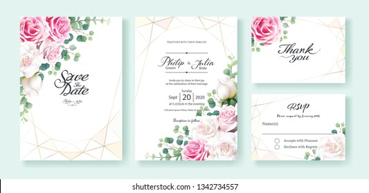 Pink and white rose flowers Wedding Invitation card, save the date, thank you, rsvp card Design template. Vector. Silver dollar eucalyptus leaves, Ivy plants.