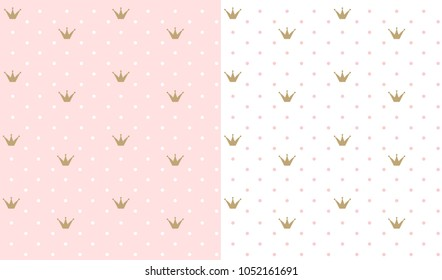 Pink and white seamless pattern with golden crown. Classic backdrop for invitation card and decoration party (wedding, baby girl shower, birthday) Cute polka dots wallpaper for princess child's room.