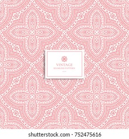 Pink and white seamless pattern. Ornament. Lace pattern. Traditional, Arabic, Turkish, Indian motifs. Great for fabric and textile, wallpaper, packaging or any desired idea.