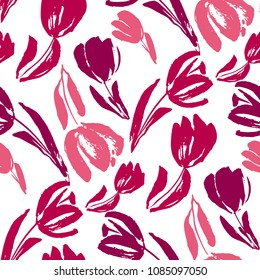 pink and white sketch tulip seamless pattern for background, fabric, wrapping paper. stock template design. nature flat spring flower motif in rosy red and white color.  Creative flower pattern.