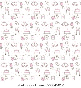 Pink and White Wedding Icons Seamless background