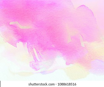 Pink white yellow color aquarelle blur vector banner. Watercolor bright scribble stroke hand drawn paper texture background for design, poster, greeting