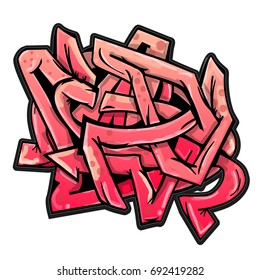 Pink wild style abstract vector graffiti.