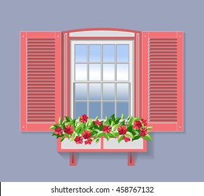Pink Window with Flowers.
