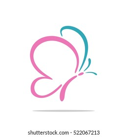 Pink Wing Beauty Butterfly Logo Template Illustration Design. Vector EPS 10.