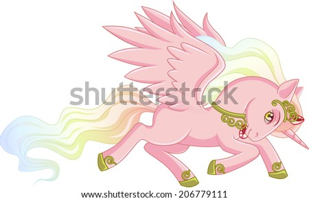 Pink Winged Unicorn With A Pearl Mane Is Galloping