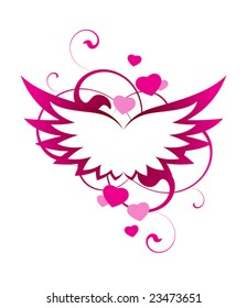 Pink wings with decorative elements on a white background