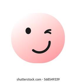 pink winking emoticon , emoji closing one eye, smiley - vector illustration