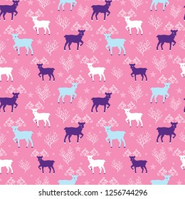 Pink winter reindeer folk vector seamless pattern. Great for winter holidays traditional wallpaper, backgrounds, gifts, packaging design projects. Surface pattern design.