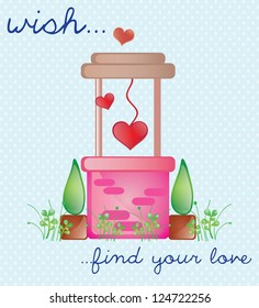Pink Wishing Well, find love. Vector Illustration