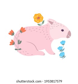 Pink wombat with flowers cartoon vector illustration. Australian cute marsupial animal icon isolated on white background. Aussie nature bear. Funny kids icon. Nursery art print