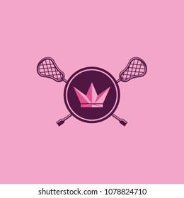 Pink women Lacrosse Sports logo, Crown Lacrosse badge, Lacrosse team logo