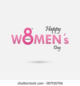 "Pink ""Women"" Typographical Design Elements. International women's day icon.Women's day symbol.Minimalistic design for international women's day concept.Vector illustration"
