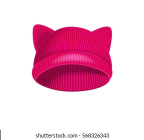 Pink womens pussy hat, feminists protest. Vector illustration.