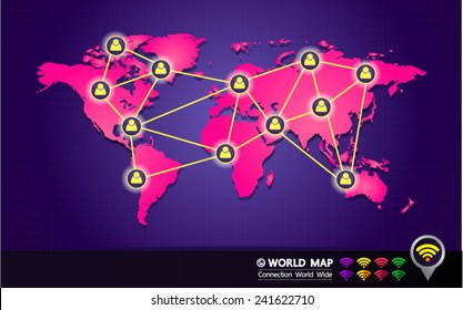 pink world map  people to people connection