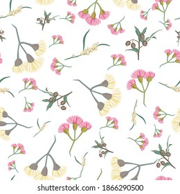 Pink and yellow eucalyptus blossom seamless vector repeat pattern