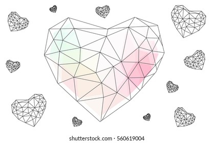Pink, yellow heart isolated on white background. Geometric rumpled triangular low poly origami style gradient graphic illustration. Vector polygonal design for your business.