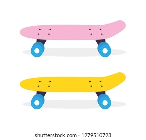 Pink and yellow longboard or skateboard cruiser isolated flat vector