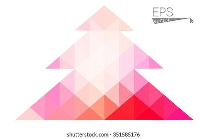 Pink, yellow low poly style christmas tree vector illustration consisting of triangles. Abstract triangular poly origami or crystal design of New Years celebration. Isolated on white background