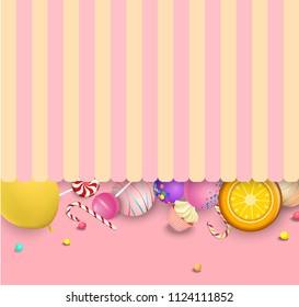 Pink and yellow striped background with bright color lollipops and canes. Vector paper illustration.
