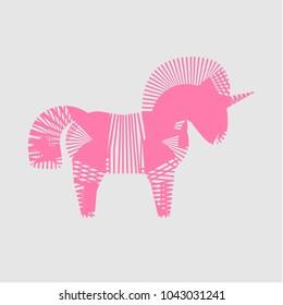 Pink zebra-unicorn vector logo design on light gray background