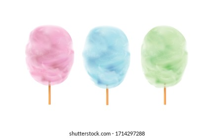 Pink,blue and green cotton candy on a wooden stick.Sweets for parties and children. Sugar clouds 3d vector icon set.