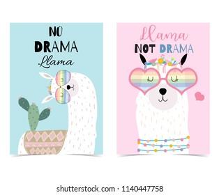 Pink,blue hand drawn cute card with llama,heart glasses and cactus.No drama llama