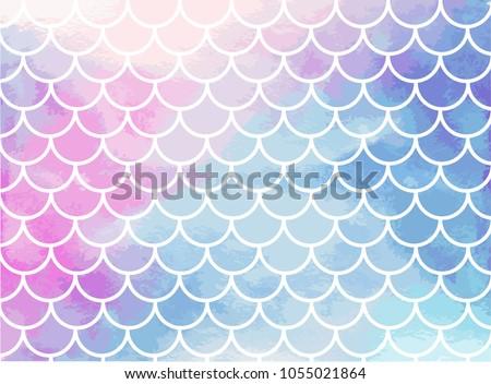Pinkblue mermaid scales Watercolor