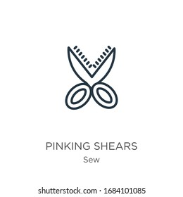 Pinking shears icon. Thin linear pinking shears outline icon isolated on white background from sew collection. Line vector sign, symbol for web and mobile