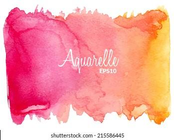Pink-orange watercolor vector background.