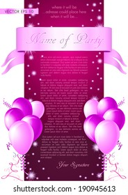 Pink/purple invitation card - vector illustration with glossy balloons, ribbon, confetti and stars