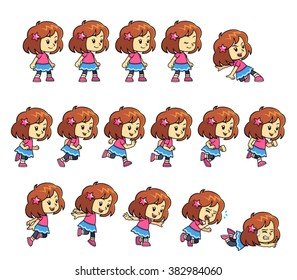 Pinky Girl Game Sprites. Pinky Girl game sprites for side scrolling action adventure endless runner 2D mobile game.