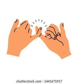 Pinky promise hands gesturing vector