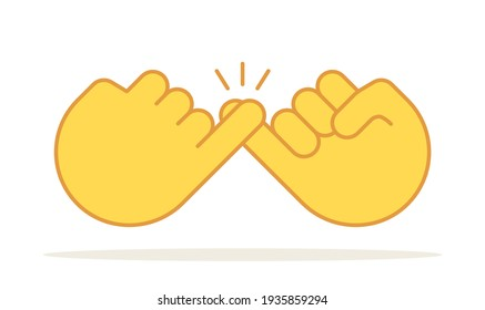 Pinky promise icon finger vector trustworthy swear cooperation friendship. Pinky promise emoji