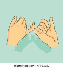 Pinky swear hands vector