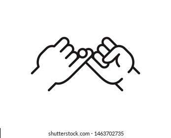 Pinky swear, or pinky promise thin line icon