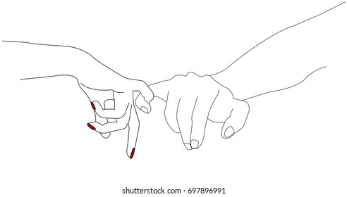 Pinky swearing, pinky promise is a  informal way of sealing a promise. The pinky swear signifies a promise that can never be broken. Little fingers vector, outline illustration.